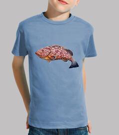 t-shirt pura del bambino, breve - manica, azzurro