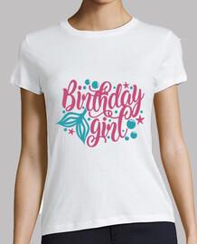 t-shirt ragazza della sirena di compleanno festa
