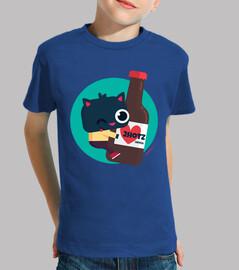 t-shirt ragazzo, manica corta - gatto con birra 2hotz (vari colori)