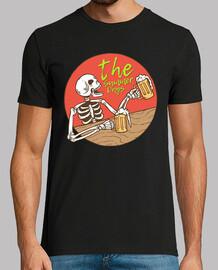 t-shirt rétro crâne squelette boire de la bière vintage