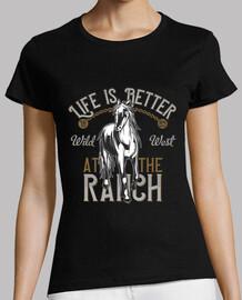 t-shirt retro vie sauvage chevaux west ranch est mieux au ranch