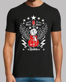 t-shirt rock chitarra dadi musica rockabilly rock n roll rocker ribelle rules