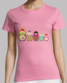 t-shirt rosa bambole russe pendientera