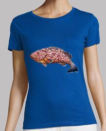 t-shirt semplice donna, maniche corte, cielo blu, di qualità premium