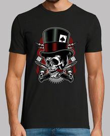 t-shirt skull hors la loi motards rétro dés