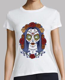 t-shirt skull messicano con rose vintage