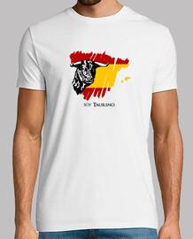t-shirt sono taurino con l'immagine di un toro e bandiera della spagna