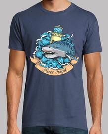 t-shirt squalo tigre tattoo faro mare vintage marinaio barche oceano
