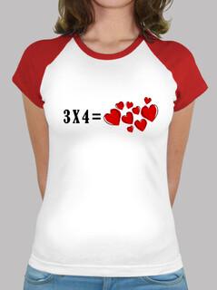 t-shirt stile baseball 3x4 cuori uguali