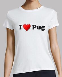 t-shirt taglio regolare pug cuore