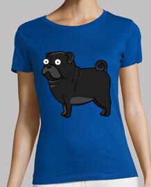 t-shirt taglio regolarmente con pug cane nero pug