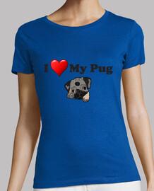 t-shirt taglio regolarmente i love my pug