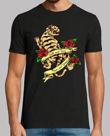 t-shirt tattoo vintage tigre tatuaggio rose rosse animale safari giungla