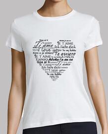 t-shirt ti amo in vari lingue