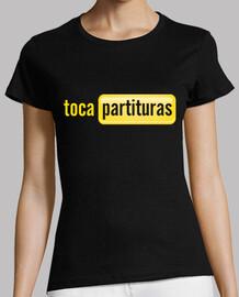 t-shirt tocapartituras girl manga black short, premium quality