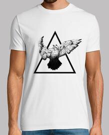t-shirt uccello bianca