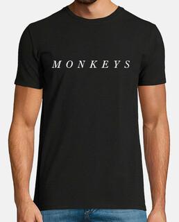 t-shirt uomo monkeys artiche, stile retrò, nera e bianca