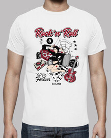t-shirt vintage anni '50 pinup rockabilly hot rod