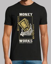 t-shirt vintage rétro argent squelette argent d'affaires