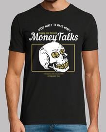 t-shirt vintage rétro crâne dollar skulls argent