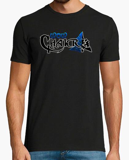 Tee-shirt t-shirt wowchakra logo complet bleu néon