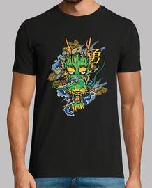 t-shirt yokai possente spirito drago verde con kanji giapponese