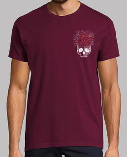t-shirts für jungs herz schädel / totenkopf granat