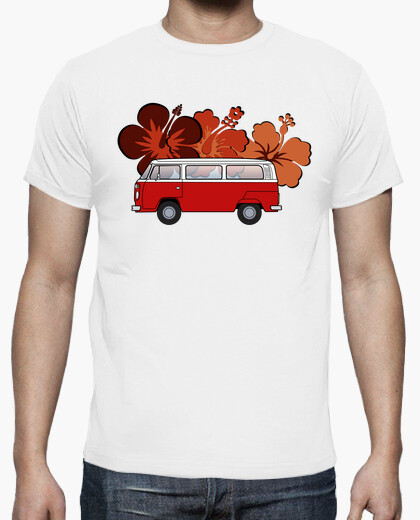 T2 red flowers. man, t-shirt