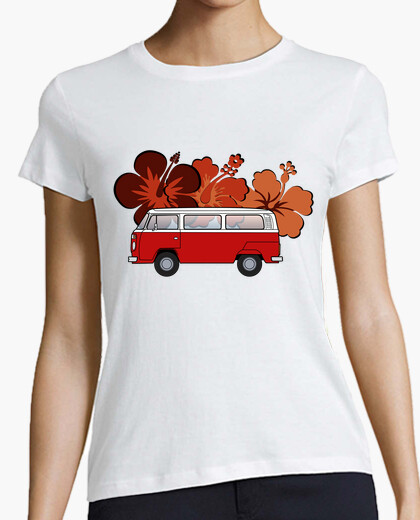 T2 red flowers. woman, t-shirt