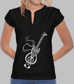t shirt guitare note blanche festival musique femme