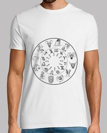 t shirt segni zodiaco uomo calendario sfondo chiaro