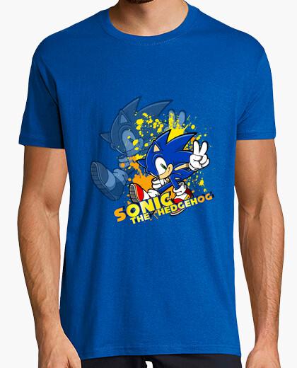 Tee-shirt taches solaires -sonic  homme  bleu