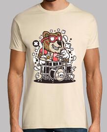 tamburino giovanile divertente del cartoni animati t-shirt dell'orso
