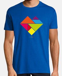 tangram heart - uomo, manica corta, blu royal, qualità extra