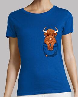 tascabile carina mucca dell'altopiano scozzese - camicia da donna
