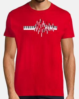 tasti di pianoforte flying . uomo, manica corta, rosso, qualità extra