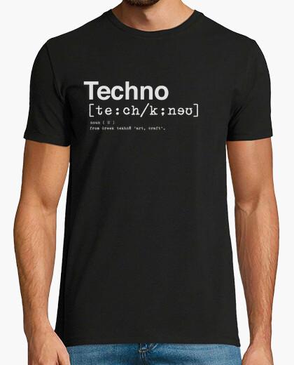 Camiseta TECHNO DICTIONARY Hombre, manga corta, negra, calidad extra