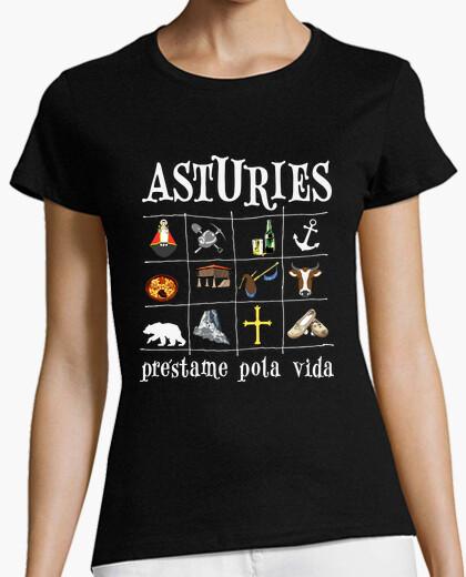 Tee-shirt 2017 asturies fond noir - fille...