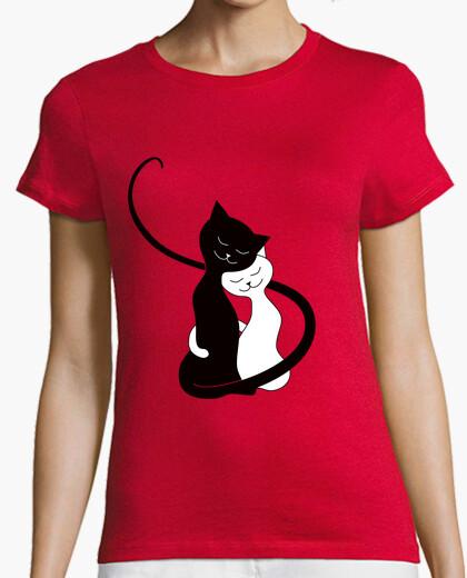 Tee-shirt Calin chats noirs & blanc amoureux