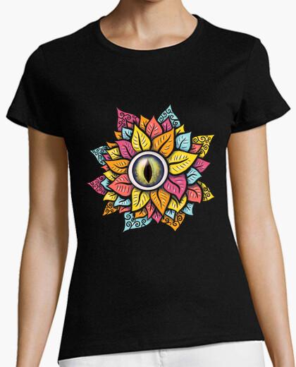 Tee-shirt coloré oeil reptile fleur...