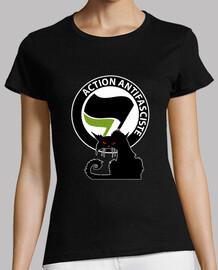 Tee-Shirt Femme - Cat Antifa Green