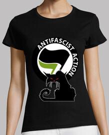 Tee-Shirt Femme - Cat Antifa International Green