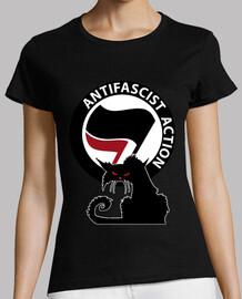 Tee-Shirt Femme - Cat Antifa International Red