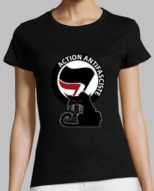Tee-Shirt Femme - Cat Antifa Red