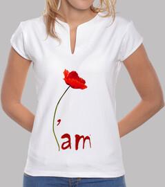 Tee-Shirt Femme - I'am - coquelicot - Blanc