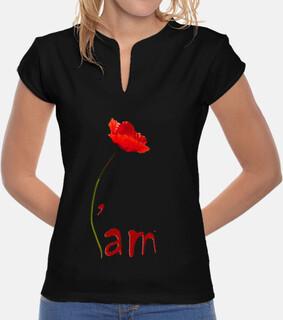 Tee-Shirt Femme - I'am - coquelicot - Noir