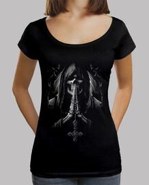 Tee-Shirt Femme col bateau - Dark Skull Reaper Santa Muerte