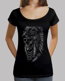 Tee-Shirt Femme col bateau - Dark Skull Wolf Apache Skull