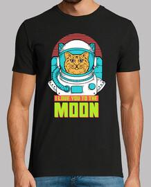 Tee-shirt humour chat astronaute lune étoiles