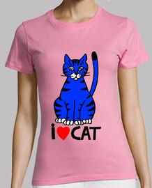 Tee-shirt I Love blue cat